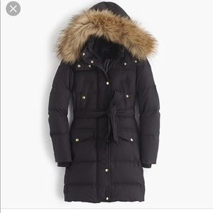 J. crew WINTRESS PUFFER COAT WITH FAUX-FUR HOOD L